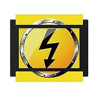 ロゴ黄色の背景電気危険 デスクトップフォトフレーム画像ブラックは、芸術絵画7 x 9インチ