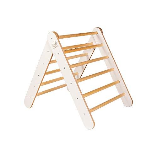 MEOWBABY Kletterdreieck 70x80cm Klettergerüst aus Holz für Kinder Sprossendreieck Kletterdreieckholz Waldorf Pikler Montessori Triangle Gym dreieck Made in EU Weiß