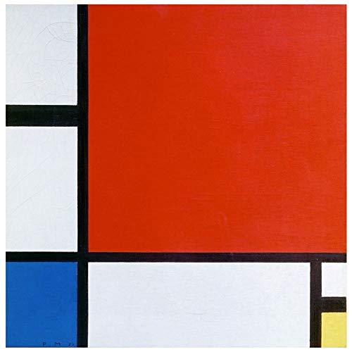 Legendarte Cuadro Lienzo, Impresión Digital - Composición II En Rojo, Azul Y Amarillo Piet Mondrian, cm. 90x90 - Decoración Pared