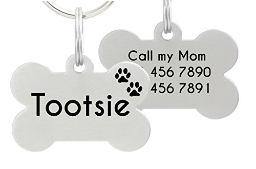 io tags Double Sided Laser Etched Stainless Steel Pet ID Tag for Dog Engraved and Personalized Bone Shape (Paws)