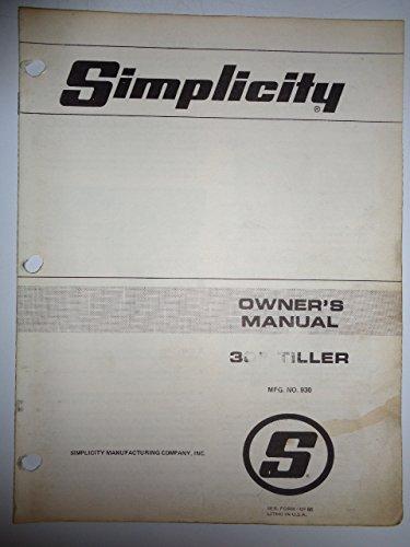 Simplicity No. 930, 30' Tiller Parts, Operators Owners Manual Original OP66