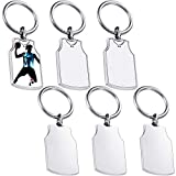 6 Pieces Sublimation Blanks Keychains Metal Basketball Jersey Blank Key Rings Heat Transfer Keychain Sublimation Keyrings for DIY Birthday Party Heat Press Sublimation Keychain Tags