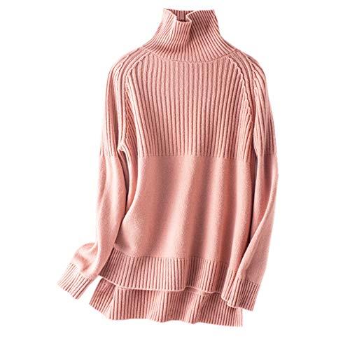 Wenwenma Damen Kaschmir Pullover Rollkragen Pullover unregelmäßig Länge Pullover (Rosa, X-Large)