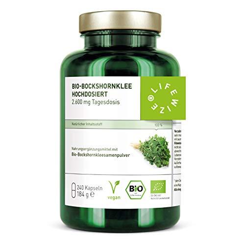 LifeWize® 240 Bio Bockshornklee Kapseln Aktiviert - 2.600 mg Bockshornkleesamen (Fenugreek), Hochdosiert, Laborgeprüft & Ohne Zusatzstoffe - Made in Germany