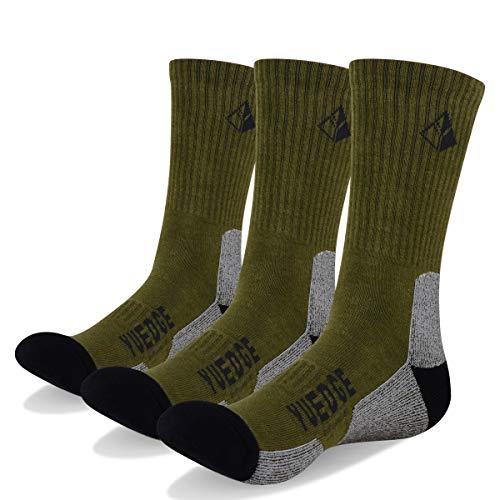 YUEDGE 3 paar Wandersocken Trekkingsocken für Herren Atmungsaktiv Sportsocken Hochleistung, Olivgrün, L (Herren Schuh 39-44,5 EU Größe)