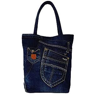 Große Damen Tasche aus Denim, Recycelte Jeanstasche für den Altag, Blaue Handtasche, Moderne Schultertasche