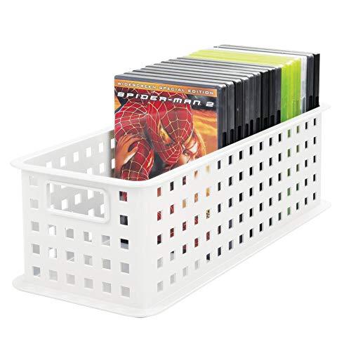 mDesign DVD-Aufbewahrungsbox – praktisches Aufbewahrungssystem mit Griff für DVDs, CDs und Videospiele, z. B. PS4 – große Aufbewahrungsbox aus Kunststoff – weiß