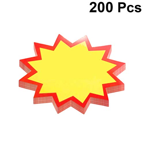 STOBOK Carteles de venta al por menor de estrellas en blanco etiquetas de precio de venta etiquetas de precio especial de papel publicitario,200 piezas