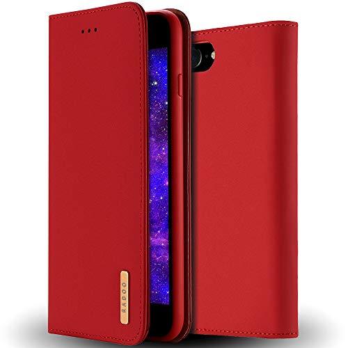 RadooiPhone SE 2020 (4,7 Zoll) Hülle, Premium Echtes Leder Klapphülle Slim Lederhülle mit Standfunktion und Kartenfach TPU Innenraum Hülle Schlanke Ledertasche Handyhülle(Rot)