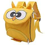 Mochila portabebés, Mochila para niños pequeños, Lindo, cómodo y Elegante diseño de Tela Oxford para bebés de 3 a 6 años, Viajes Escolares, Compras(Owl Yellow)
