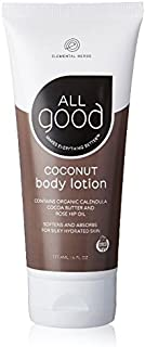 All Good Body Lotion w/ Essential Oils - Moisturizing Organic Calendula, Cocoa Butter, Coconut & Rose Hip Oil - Non GMO - Vegan - 6 oz (Coconut)