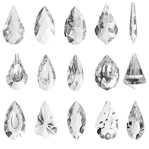 Colgante de Cristal Transparente, 15 Piezas Colgante de Bola de Prisma de Cristal, Prismas de Vidrio Colgantes para Iluminación de Lámpara de Araña, Decoración del Hogar