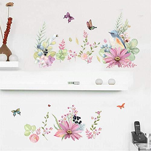 Blühende Sträucher Schmetterling Vögel Wandtattoos Frische Pflanze Wohnkultur Wandaufkleber Bordüre Dekoration Wandapplikation Abnehmbar