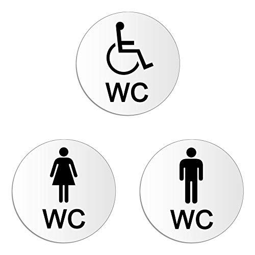 Toilettenschilder Damen-Herren-Rollstuhl | 3er Set WC Schilder Ø 100 mm – UV-beständig Kratzfest | selbstklebend | Nr.54105