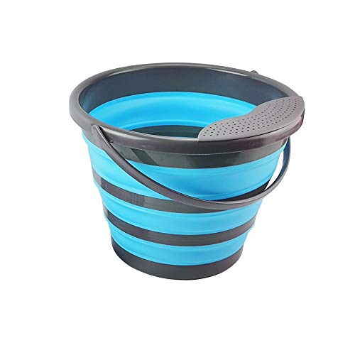 Cubo plegable de plástico plegable para pesca con forma de cubo de agua para uso al aire libre (azul)