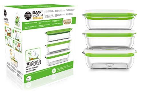 FOSA 3 recipientes rectangulares de 1.000 ml para Sistema de envasado al vacío doméstico e inalámbrico Conserva Cualquier alimento más Tiempo – Plástico Premium de Nivel Sanitario