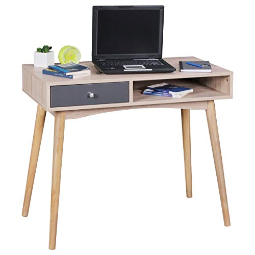 Wohnling Schreibtisch Modern Schublade Design Tisch mit Fächer Computertisch Grau Konsolentisch Ablage 90 cm Escritorio, Roble, Gris Sonoma, 90 x 45 x 78 cm