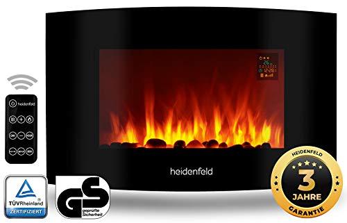 Heidenfeld Wandkamin Elektrisch HF-WK100 mit Fernbedienung - 3 Jahre Garantie - 1000 oder 2000 Watt - Flammensimulation - Heizthermostat - Kaminofen Elektrokamin Kaminfeuer (WK100A Curved Steinoptik)
