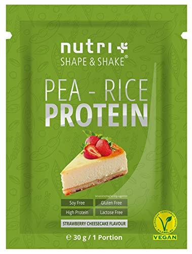 VEGANES EIWEIßPULVER sojafrei Probe - Strawberry Cheesecake 30g - Proteinpulver ohne Gluten, Laktose, Zucker - Nutri-Plus Erbsenreis-Protein - Eiweiß Pulver Vegan - In Deutschland hergestellt