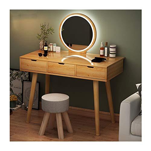 MYAOU Schminktisch mit Einstellbarer Helligkeit Spiegel MDF Schminktisch mit Holzbeinen Schlafzimmer Schminktische mit Schubladen & Schminktisch Stuhl