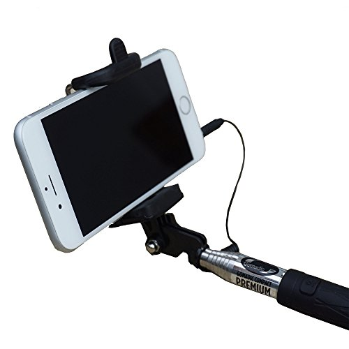 Compact Premium Extended Monopod Smartphone Selfie Stick with Integrated Shutter Button - Works with iPhone, Android and Windows Devices