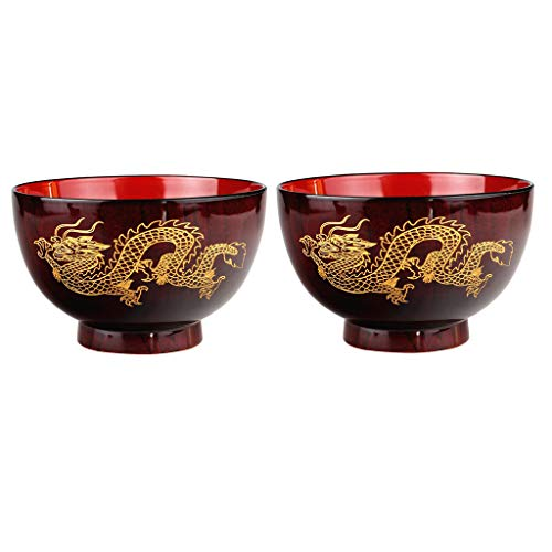 FLAMEER 2 Pcs Dinner Bowls 11.5cm Soup Cereal Bowl Set Retro Chinese Dragon Pattern