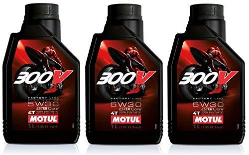 Motul 300V Factory Line 5W30 Ester Aceite de motor totalmente sintético, 3 litros