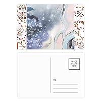 抽象的な水彩画の濃淡インク 公式ポストカードセットサンクスカード郵送側20個