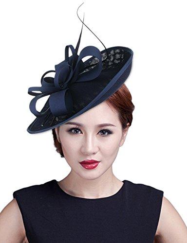 GEMVIE Hut Damen Vintage Kopfschmuck Fascinator Hochzeit Haarreif Feder Mini-Hut Blau