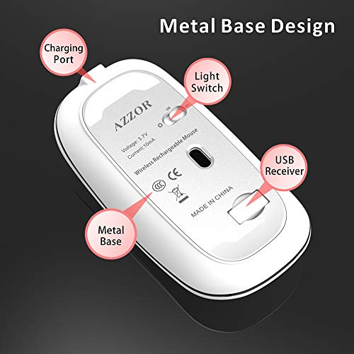 Uiosmuph Kabellose Maus, 2.4Ghz Funkmaus wiederaufladbar, leise Wireless Mouse Schnurlos Kabellos Optische Maus mit USB Nano Empfänger für PC/Tablet/Laptop und Windows/Mac/Linux (Blau)