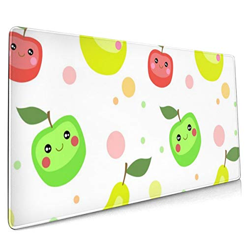 Mouse Pad Apples Pears Smile Face Cute Cartoon Fruit Gaming Mouse Pad,Mouse Pad for Women,Extended Mouse Pad,Keyboard Mouse Pad,Mouse Pad Non-Slip