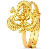 Satfale Jewellers 認定固体18Kイエロー細かい花柄女性指輪 ゴールド