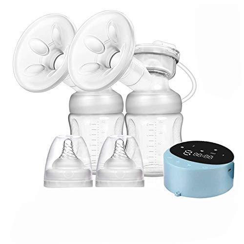 Extractor de leche eléctrico doble, Sacaleches doble Eléctrico Recargable Portátil, 4 modos 10 niveles lactancia Saca leche LED pantalla BPA Free Succión de Leche Materna y Masaje de Senos