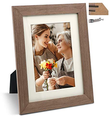JD Concept 15x20 cm Eiche Dünnem Bilderrahmen aus Holz, für Foto 10x15 cm mit Passepartout oder 15 x 20 cm ohne Passepartout, Tisch- oder Wandmontage (Echtglasscheibe)