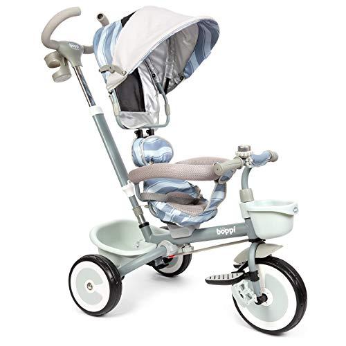 boppi Passeggino-Triciclo a Pedali 4 in 1 con Seduta Reversibile Fronte Genitore o Fronte Strada – Grigio con Onde