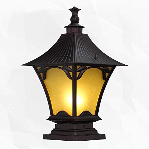 Mopoq Victorian Post Lanterns Collection Coffee Gold Finish Exterior Outdoor Lantern Light with Yellow Glass Die-cast Aluminum Column Lamp Decoration Pillar Light