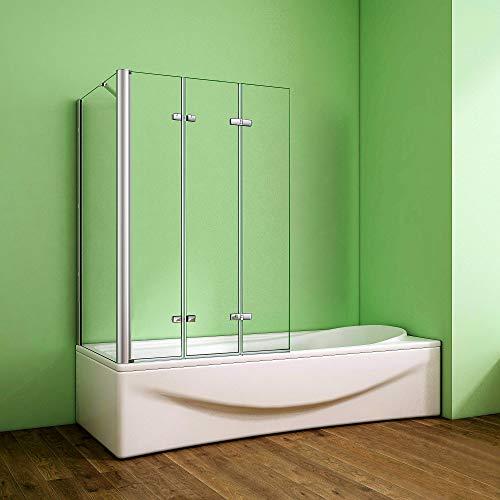 Duschabtrennung Badewannenaufsatz 70x130x140cm 3-tlg. Eck Duschwand Badewanne Faltwand Badewannenfaltwand 6mm NANO Sicherheitsglas mit Seitewand