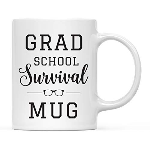 Andaz Press 11oz. Graduation Coffee Mug Gift, Grad School Survival Mug, 1-Pack, Includes Gift Box, Cups for Graduates School Students of Class of 2021, Grad Diploma, Academic Degree Congratulations