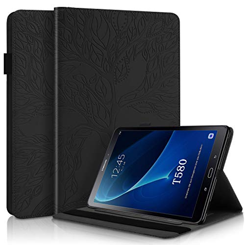 WHWOLF Compatible with Samsung Galaxy Tab A 10.1 (2016) Case SM-T580/ T585 Tablet Shockproof PU Leather Flip Wallet Cover Shell with Stand Multi-angle, Card Pocket-black