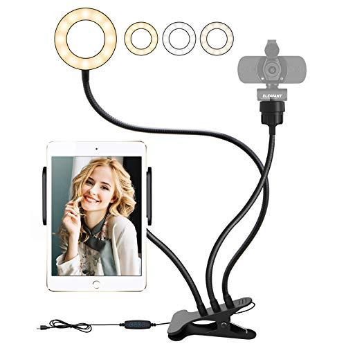 "ELEGIANT Webcam Light Stand for Live Stream, Selfie Light Ring with Phone Holder &1/4"" Thread Webcam Lighting Ring Light 3 Mode 10 Brightness Selfie Light for Phone iPad Camera YouTube TikTok Video"