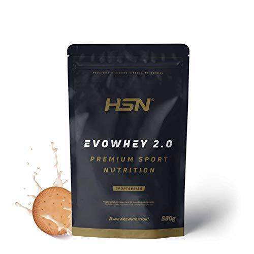 Concentrado de Proteína de Suero Evowhey Protein 2.0 de HSN | Whey Protein Concentrate| Batido de Proteínas en Polvo | Vegetariano, Sin Gluten, Sin Soja, Sabor Galletas, 500g