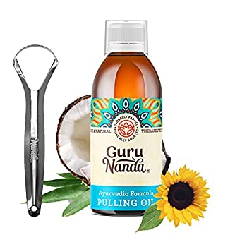 GuruNanda Oil Pulling Oil Natural Mouthwash Ayurvedic Blend of Coconut Sesame Sunflower & Peppermint Oils A Refreshing Oral Rinse - Helps Bad Breath Healthy Gums + Whitens Teeth  8.45 fl oz .