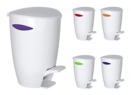 Wenko Abfalleimer - 5 Liter - Farbwahl möglich - Treteimer - Badeimer - Mülleimer - Eimer - Kosmetikeimer - Tretmülleimer - Abfallsammler, Farbe:Lila