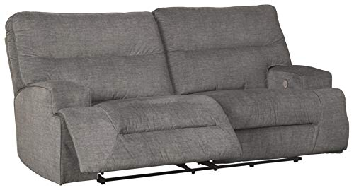 Signature Design by Ashley - Coombs Contemporary Upholstered 2 Seat Power Reclining Sofa - Adjustable - Gray