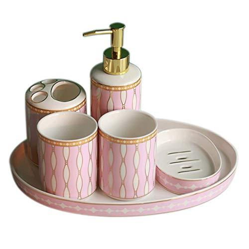 Dispensador de jabón Juego de accesorios de baño de cerámica, artículos for el hogar de 6 piezas, que incluye dispensador de jabón, cepillo for dientes, portavasos, jabonera y bandeja práctica Regalo