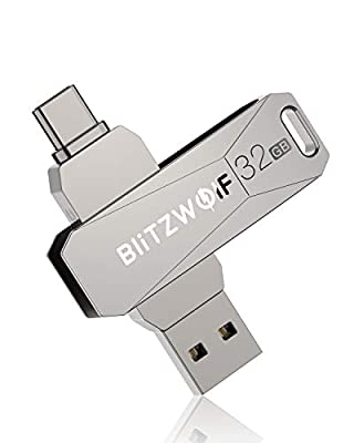 BlitzWolf USB C Memory Stick 32GB, USB 3.0 Type C USB Flash Drive, OTG High Speed Thumb Drive Mini USB Drive Compatible with Type-C Smart Phone, Tablet PC Devices (Silvery)