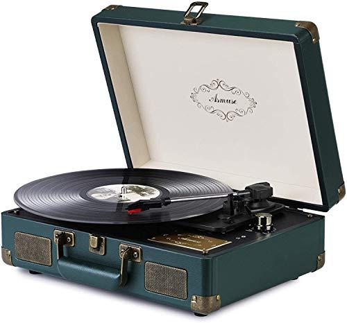 Asmuse Tocadiscos de Vinilo Vintage Reproductor de Musica Mediante Bluetooth y USB...