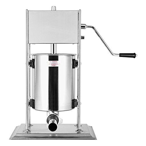 Bisujerro Máquina de Hacer Salchichas Embutidora de Salchichas de Acero Inoxidable de Grado Alimenticio Rellenadora Manual de Salchichas con 2 Velocidades y 4 Boquillas (10L)