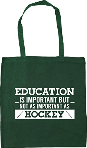 HippoWarehouse Education is important but not as important as hockey Tote Shopping Gym Beach Bag 42cm x38cm, 10 litres