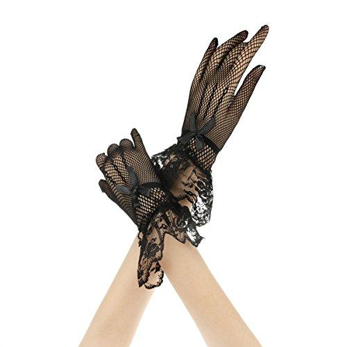 Guantes de boda para mujer, cortos, guantes, elegantes y elegantes, para fiestas, bodas, fiestas, etc. Negro Talla única